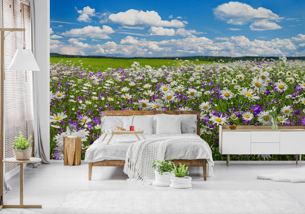 Fototapete mit Blumenwiese und Wolken im Schlafzimmer