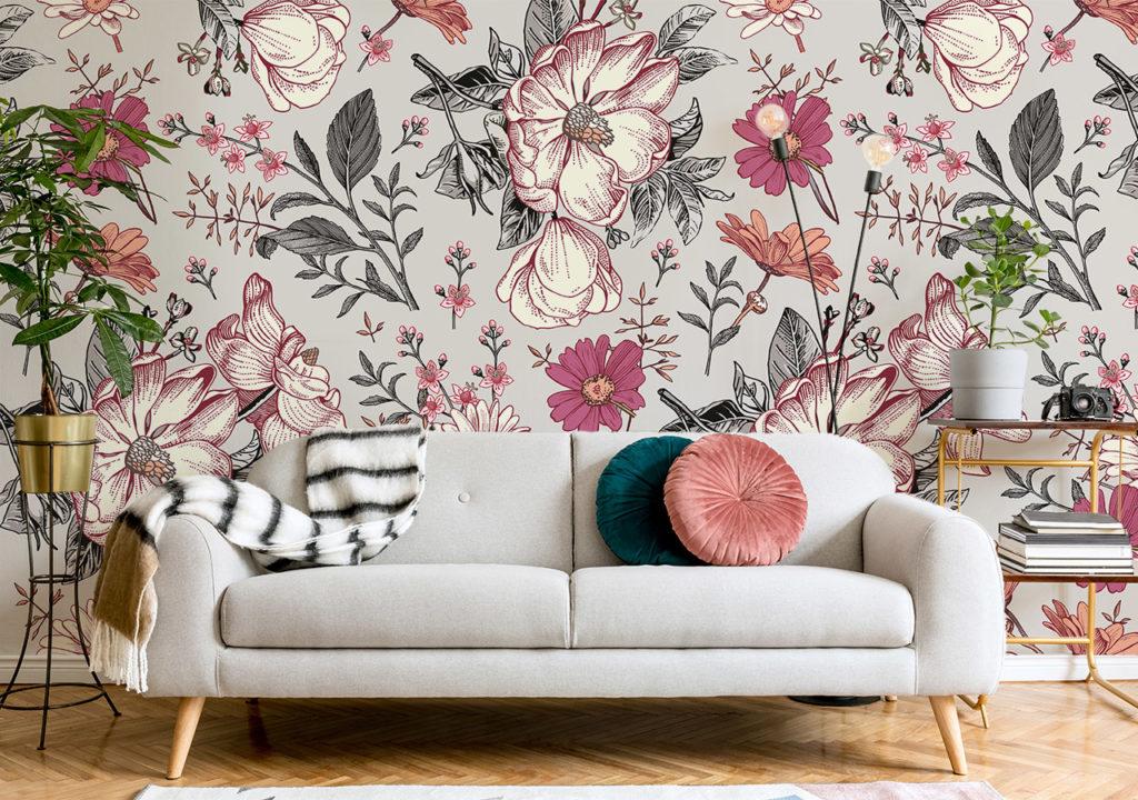 Fototapete schöne Blumen Vintage im Wohnzimmer
