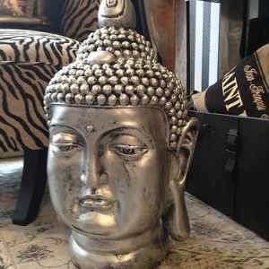 gro er buddha deko kopf figur feng shui silber wetterfest. Black Bedroom Furniture Sets. Home Design Ideas