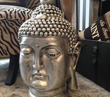 gro er buddha deko kopf figur feng shui silber wetterfest