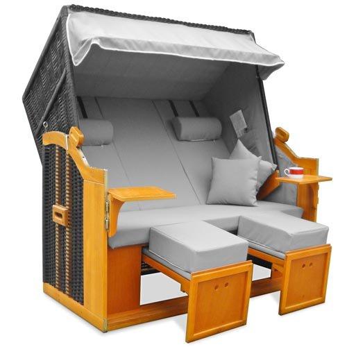 homelux strandkorb bc160 3 deluxe polyrattan sylt ostsee. Black Bedroom Furniture Sets. Home Design Ideas