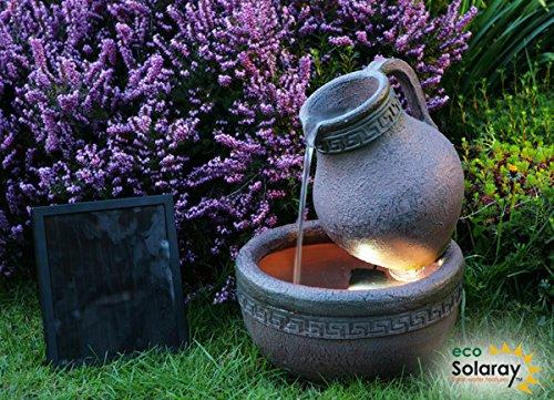 solar-gartenbrunnen mit terrakotta-effekt und led-beleuchtung, Garten und erstellen