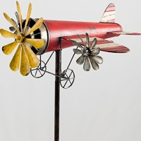Windspiel-Metall-Flugzeug-Metallwindrad-Rosinenbomber-Garten-Dekoration-rot-gelb-0