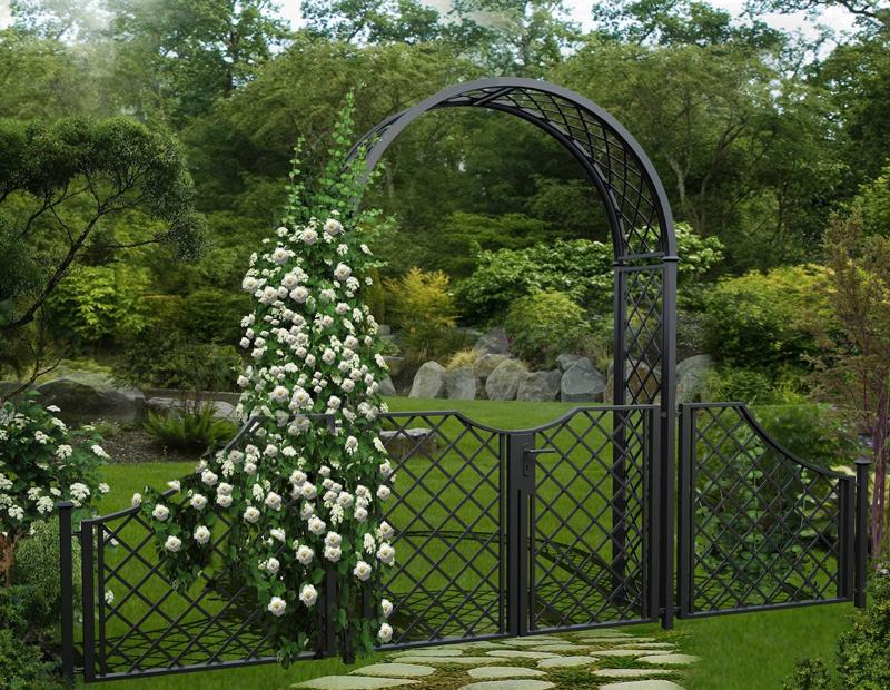 rosenbogen mit t r tor oder doppelfl geliger t r garten. Black Bedroom Furniture Sets. Home Design Ideas
